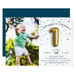 Cartão O tipo festa de aniversário do balão da foto de |