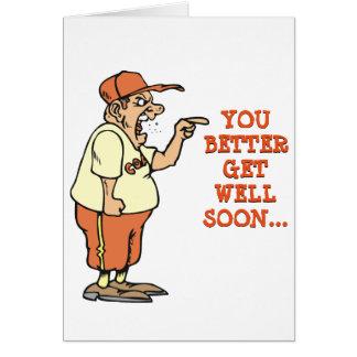 Cartão O treinador irritado obtem bem logo