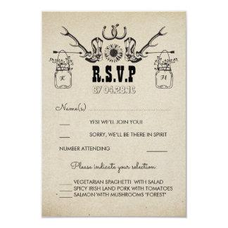 Cartão O vaqueiro calça o país RSVP Wedding rústico