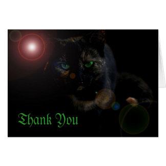 Cartão o verde eyed o gato preto no obrigado preto você