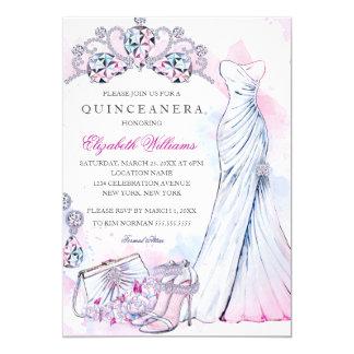 Cartão O vestido de cristal Quinceanera da faísca