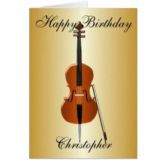 Cartão O violoncelo apenas adiciona o aniversário