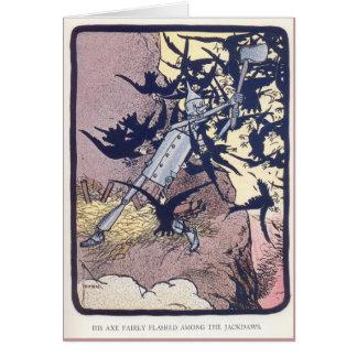 Cartão O Woodman da lata luta os Jackdaws