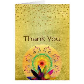 Cartão Obrigado aguarela da flor de Lotus holística