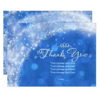 Cartão Obrigado azul & branco de Cinderella da faísca