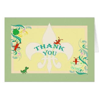 Cartão Obrigado bonito do bebê dos bichos de Cajun você