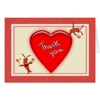 Cartão Obrigado bonito do coração dos lagostins de Cajun