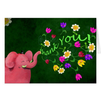 Cartão Obrigado bonito do elefante cor-de-rosa você