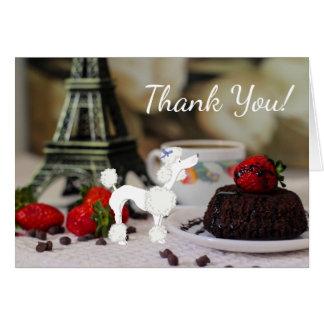 Cartão Obrigado branco bonito do cão de Paris da torre