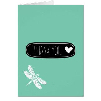 Cartão Obrigado branco da libélula da hortelã você