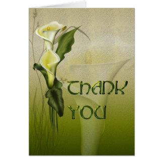 Cartão Obrigado branco do casamento do Calla você