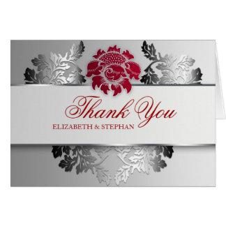 Cartão obrigado chique do damasco do design de prata você