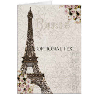 Cartão Obrigado chique dos rosas do rosa da torre Eiffel