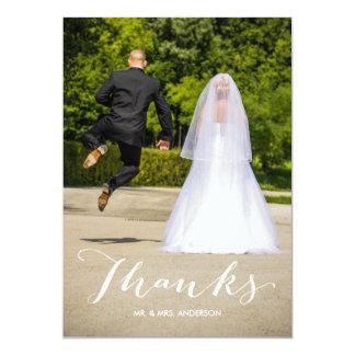 Cartão Obrigado completo branco do casamento da foto da