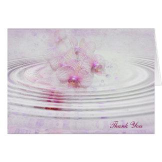 Cartão Obrigado cor-de-rosa das ondinhas da orquídea você
