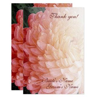 Cartão Obrigado cor-de-rosa do casamento do crisântemo da