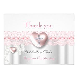 Cartão Obrigado cruz de prata cor-de-rosa do coração da