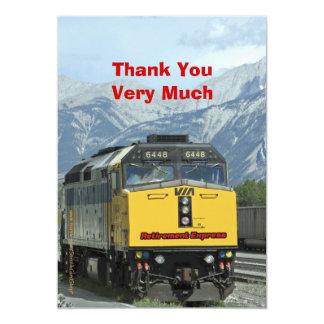Cartão Obrigado da aposentadoria você, estrada de ferro