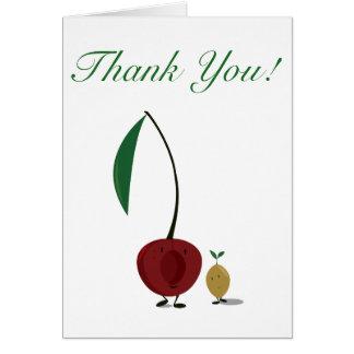 Cartão Obrigado da cereja e do poço da cereja você