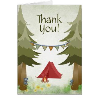 Cartão Obrigado da floresta das árvores da fogueira da
