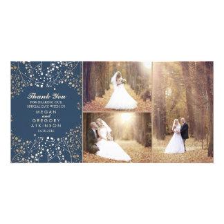 Cartão Obrigado da foto do casamento do marinho da