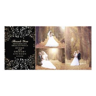 Cartão Obrigado da foto do casamento do preto da