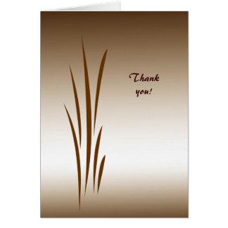Cartão Obrigado de bronze da grama você