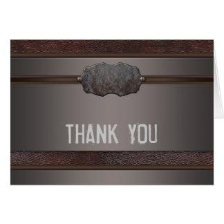 Cartão Obrigado de couro de Brown do metal de Brown você