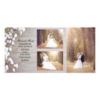 Cartão Obrigado de madeira da foto do casamento da
