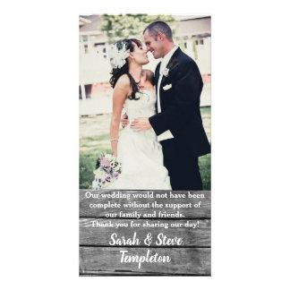 Cartão Obrigado de madeira rústico da foto do casamento
