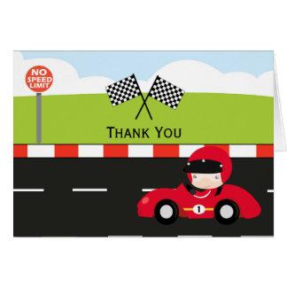 Cartão Obrigado de Racecar você aniversário