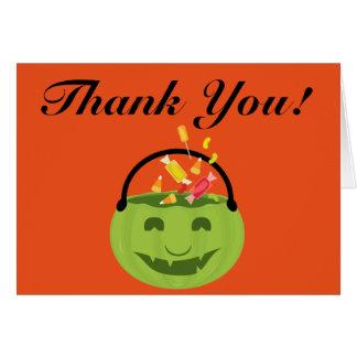 Cartão Obrigado do balde do Dia das Bruxas do Ghoul você