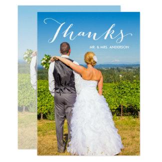 Cartão Obrigado do casamento da foto do roteiro   da