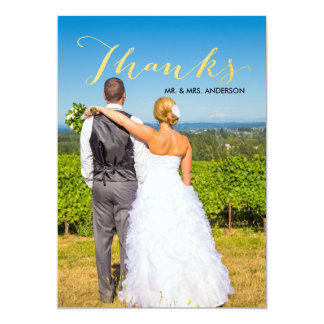 Cartão Obrigado do casamento da foto do roteiro da folha