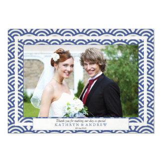 Cartão Obrigado do casamento de Seigaiha do japonês você