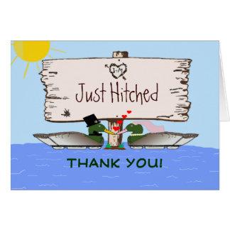 Cartão Obrigado do casamento do caçador do pato você