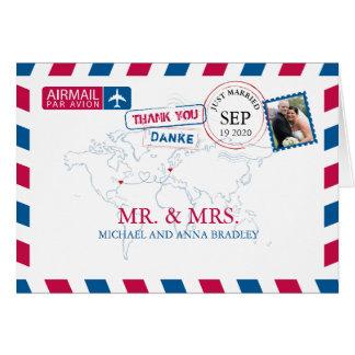 Cartão Obrigado do casamento do correio aéreo de NEW YORK