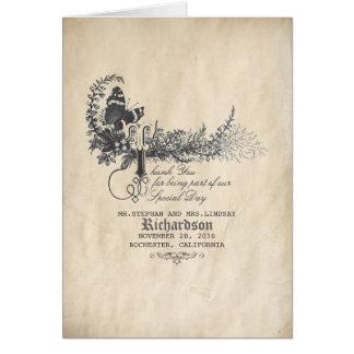 Cartão Obrigado do casamento vintage do conto de fadas