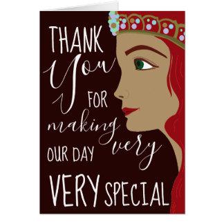 Cartão Obrigado do chá de fraldas da princesa Vermelho