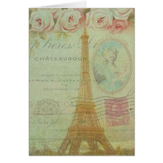 Cartão Obrigado do francês dos rosas da torre Eiffel de
