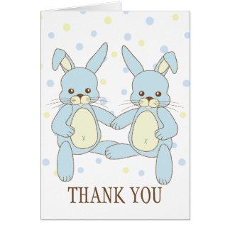 Cartão Obrigado dos gêmeos do coelho de coelho você