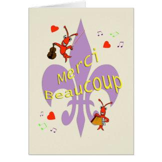 Cartão Obrigado dos lagostins da flor de lis de Cajun