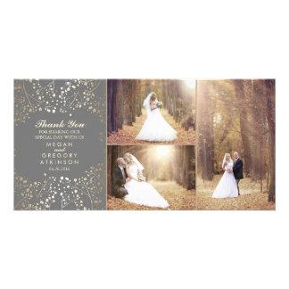 Cartão Obrigado elegante da foto do casamento da