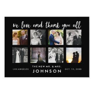 Cartão Obrigado elegante da foto do casamento da colagem