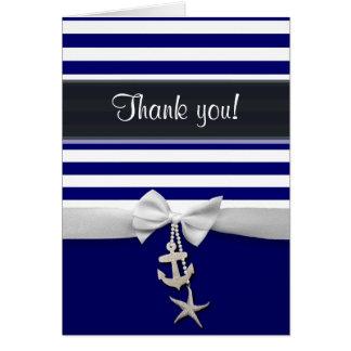 Cartão Obrigado fita náutica azul do branco da listra &