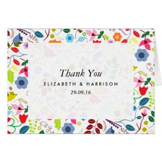 Cartão Obrigado floral chique moderno do casamento de