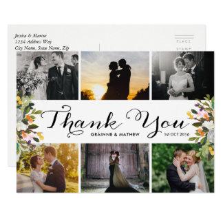 Cartão Obrigado floral do casamento da colagem da foto