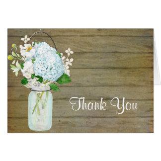 Cartão Obrigado Hydrangeas rústicos do azul do frasco de