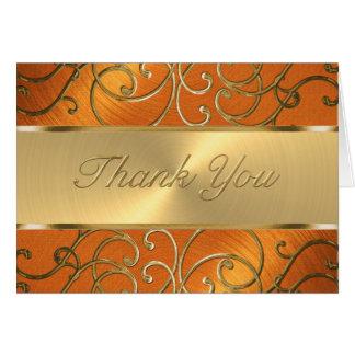 Cartão Obrigado laranja elegante e ouro filigranas