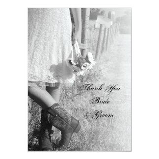 Cartão Obrigado liso dos girassóis das botas de vaqueiro